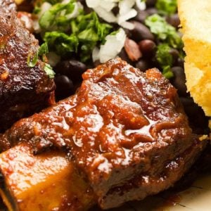 Close Up Piece Slow Cooker Molasses Short Ribs