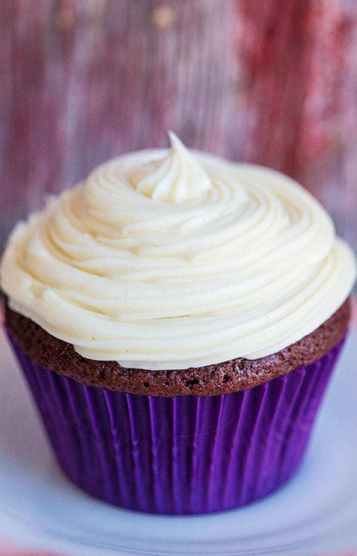 Close up of Cream Cheese Frosting swirled on a cupcake
