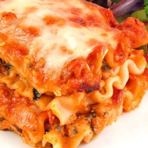 Close up of Cheesy Vegetable Lasagna with no-boil noodles