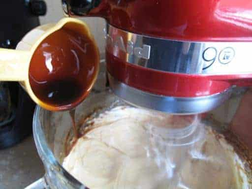 adding the molasses to the mixture