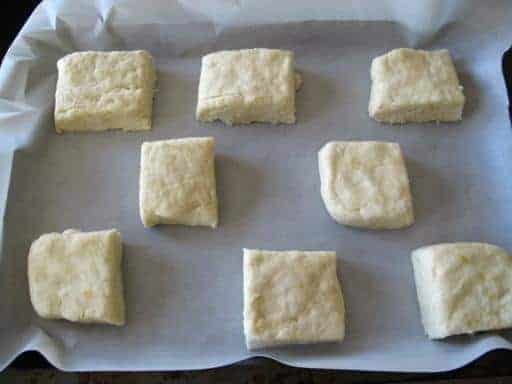 rectangle shaped scones in a baking sheet