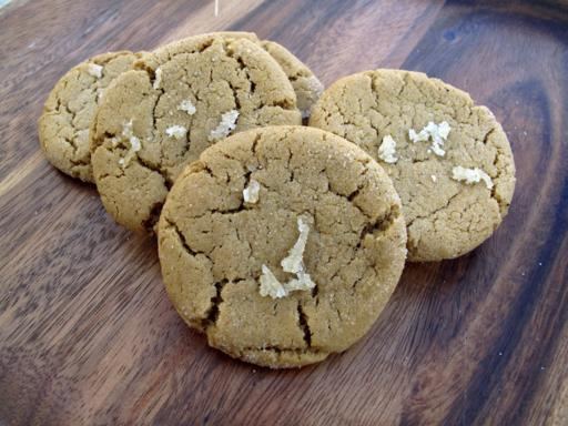 Double Ginger Cookies on wood Background