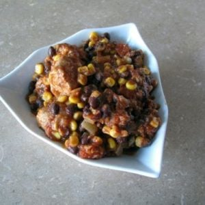 Southwest Chicken in a Triangular Bowl