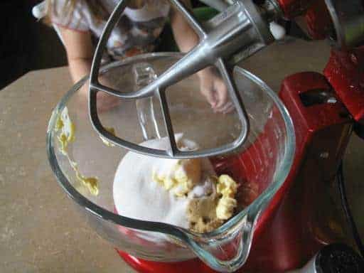 butter and sugars in the mixer ready for whipping