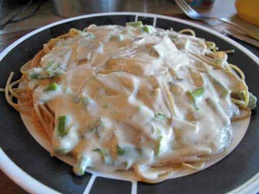a plate of Asparagus Alfredo