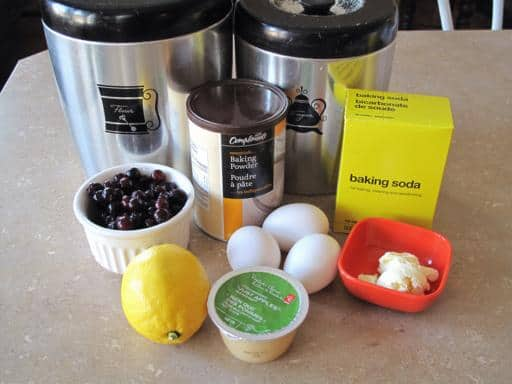 ingredients in making Lemon Saskatoon Loaf