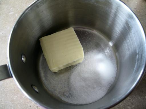 large bowl with sugar and butter