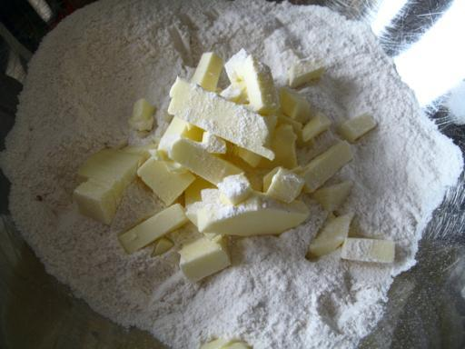 butter cut into the flour mixture