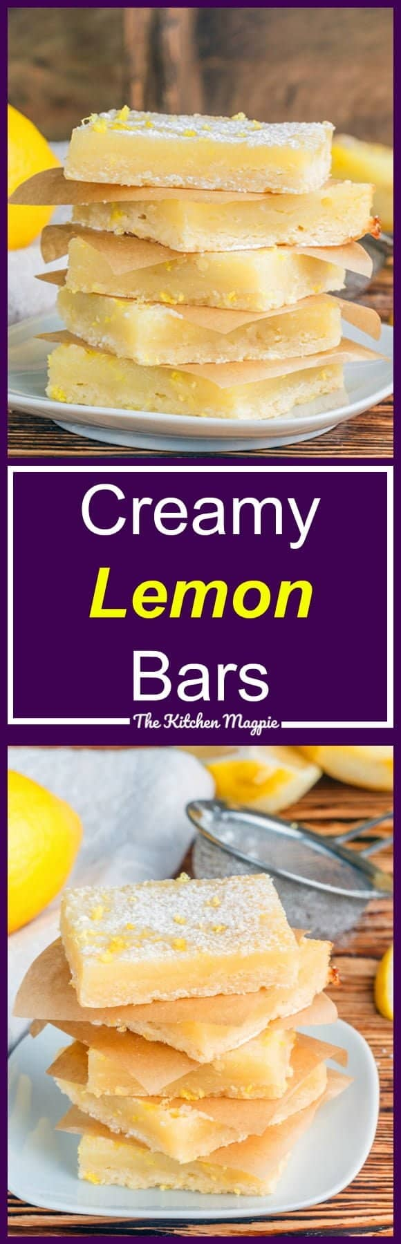 Luscious, creamy lemon bars with a shortbread type base. Are you sold yet? These are perfect for any time of the year - light, lemony and delish! Recipe from @kitchenmagpie #lemon #lemonsquares #desserts #recipe