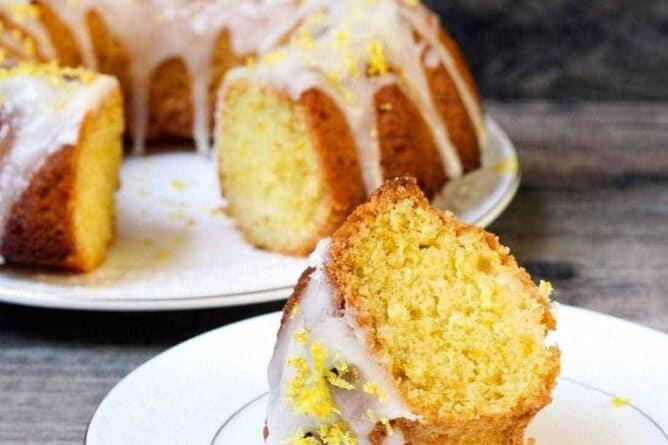 Lemon Bundt Cake with buttercream icing in white plates