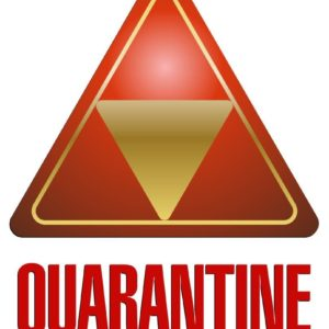 red quarantine logo with inverted gold triangle inside