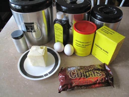 all the Ingredients Needed for Dark Chocolate Cookies