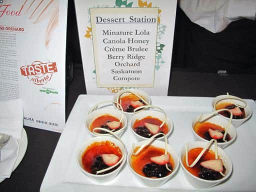 signage of dessert station with servings of creme brulee