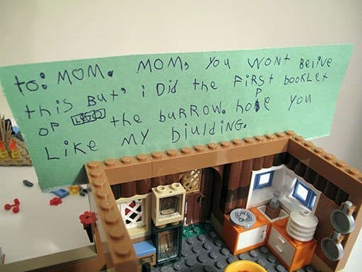 half of the lego set was done with a note for Mom
