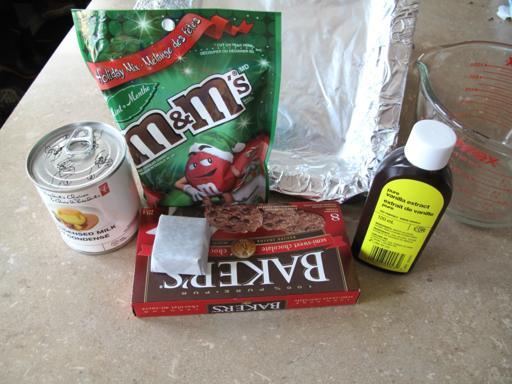 Ingredients Needed for Mint M&M Fudge