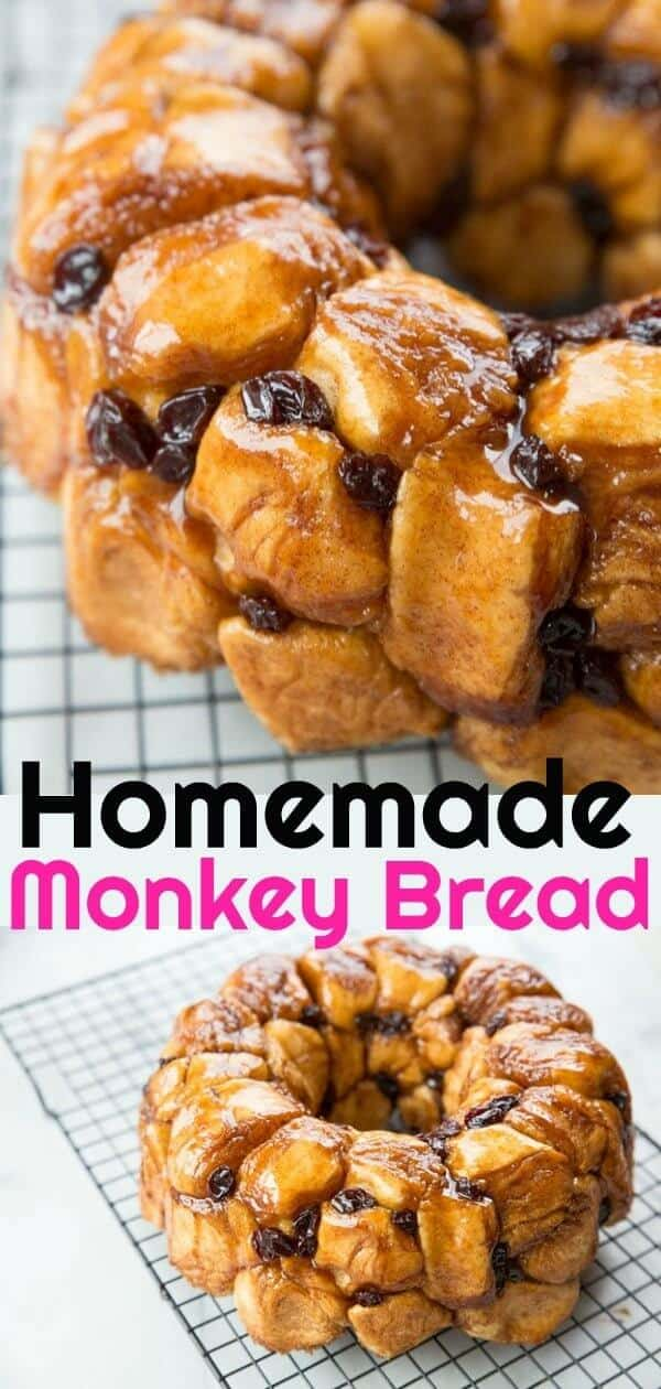 Homemade sweet dough rolled in sugar/cinnamon makes a homemade monkey bread so fast,easy and delicious, you'll never used canned dough again. #monkeybread #sweet #dessert #baking #delicious #bread #cinnamon #raisin