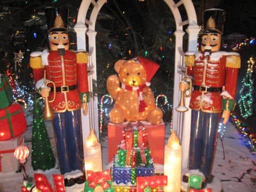 teddy bear and nutcrackers light display