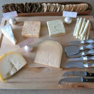 Cheese and utensils wooden tray
