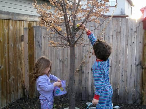two little kids wearing their jammies collecting the eggs from the tree