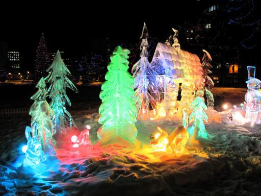 ice sculpture just outside the Alberta Legislature