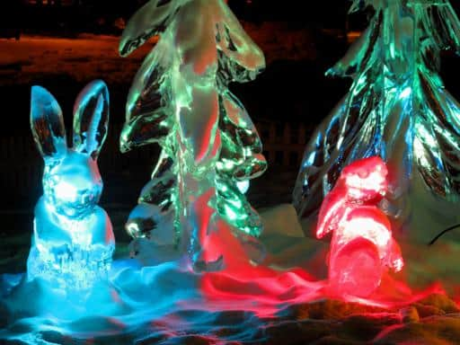 close up of lighted ice sculpture