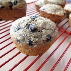 Nine Grain Blueberry Muffins in red cooling rack
