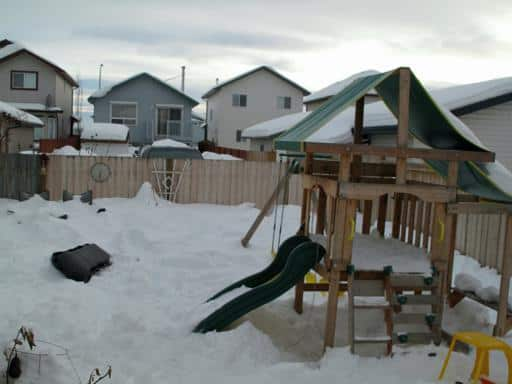 children's play place covered with snow