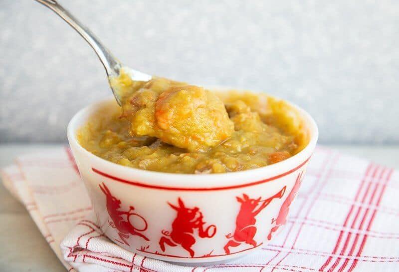 a white bowl with Split Pea & Ham Soup