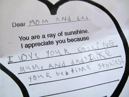 a note to Mom and Dad