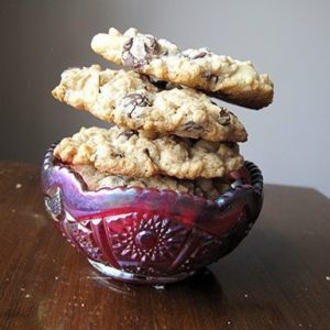 Stack of Peanut Butter Oatmeal Cookies in a vintage bowl