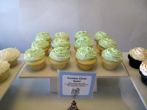 lemon lime twist cupcake with green icing on top