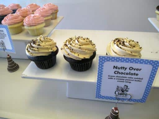 close up of nutty over chocolate cupcake