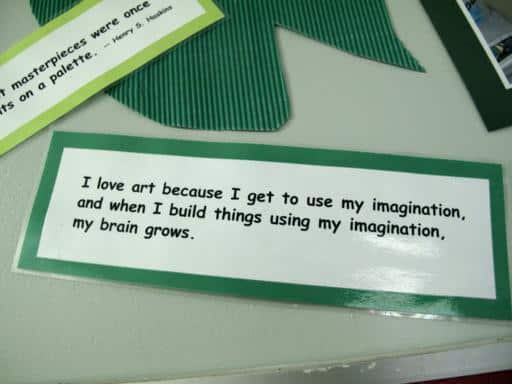 inspirational words and thoughts from school children in a tag
