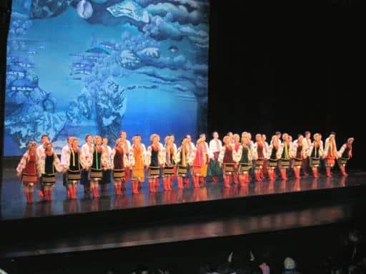 the Shumka dancers on the big stage