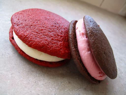 Two Pieces of Whoopie Pies - Strawberry and Chocolate Flavored