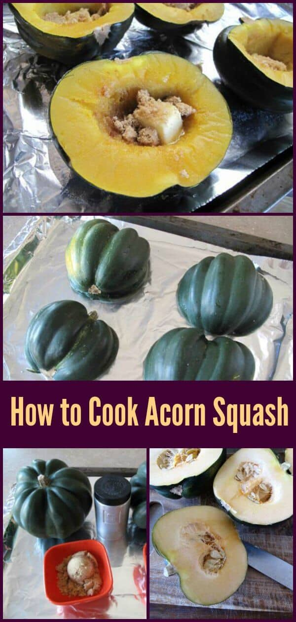 How to clean, cut, prepare and cook acorn squash in the oven with a delicious sweet and buttery recipe as well! This is our favourite way to cook squash. #acornsquash #recipe #squash #cooking #dinner #vegetables #vegetarian #fall #autumn