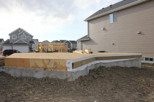 closer view of the house foundation