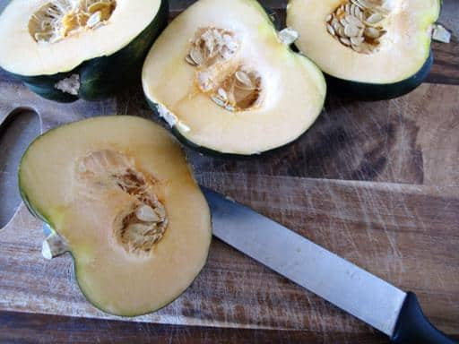 Whole Acorn Squash cut in half