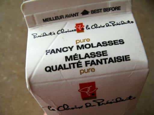 Close up box of fancy molasses