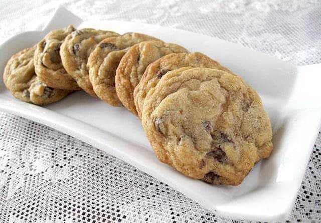 Chocolate Chip Cookie - Fudge Melt Version in a white rectangular plate