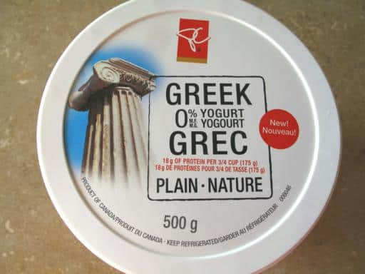 the cap of PC brand Greek Yogurt