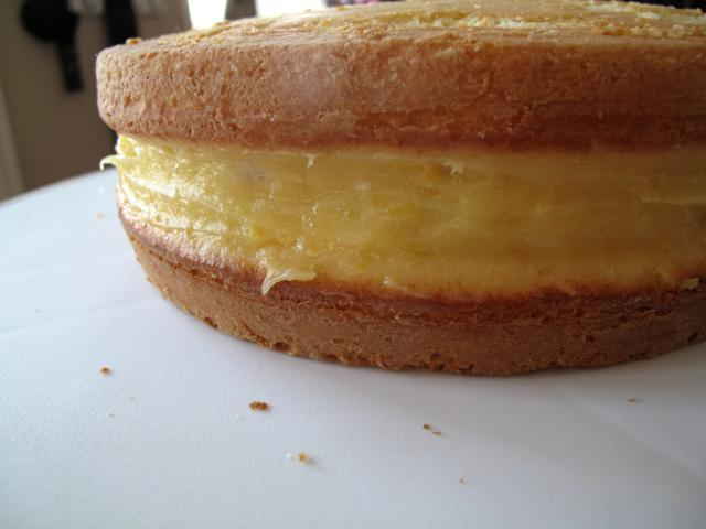2 layers of lemon cakes filled with Lemon Cake Filling in between