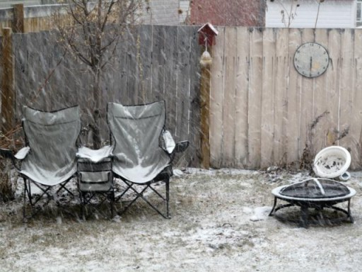 the backyard during spring time when snow falls