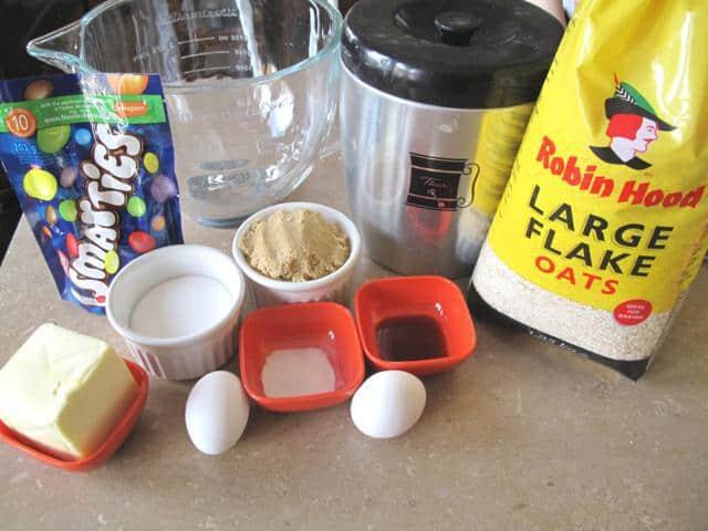 Ingredients in Making Smartie Oatmeal Cookies