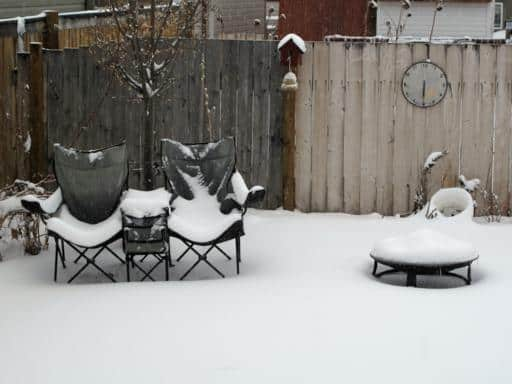 the backyard almost covered with snow