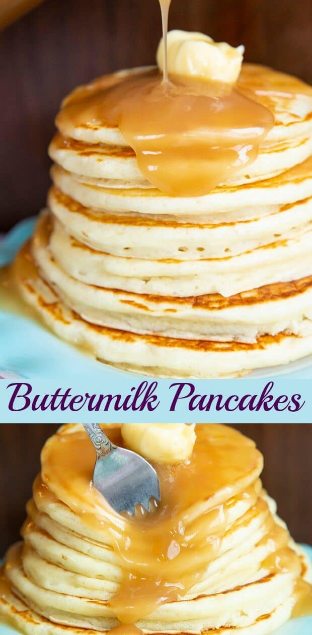 Buttermilk pancakes are in a league of their own when it comes to the fluffiness factor and that sweet buttermilk tang that we all love. #pancakes #buttermilk #breakfast #brunch #sweets #holidays #pancake #recipe #food #brownsugar #syrup
