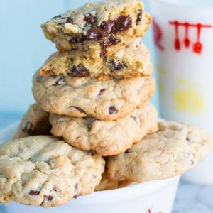 Thick and Chewy Chocolate Chip Cookies in a white bowl