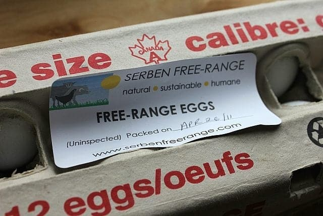 Serben's free range chicken eggs in a tray container