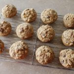 Oatmeal Flax Pumpkin Muffins in a cooling rack