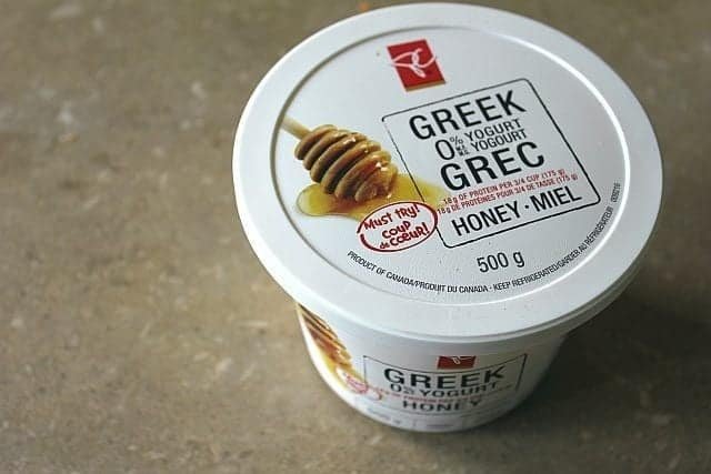 a tub of honey sweetened Greek yogurt